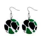 Green Black Digital Pattern Art Mini Button Earrings Front