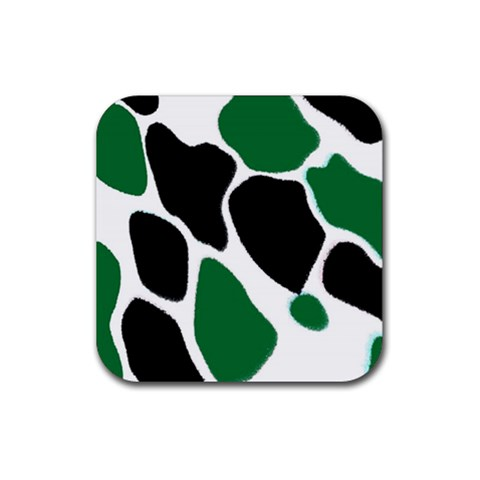 Green Black Digital Pattern Art Rubber Coaster (Square)