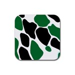 Green Black Digital Pattern Art Rubber Coaster (Square)  Front