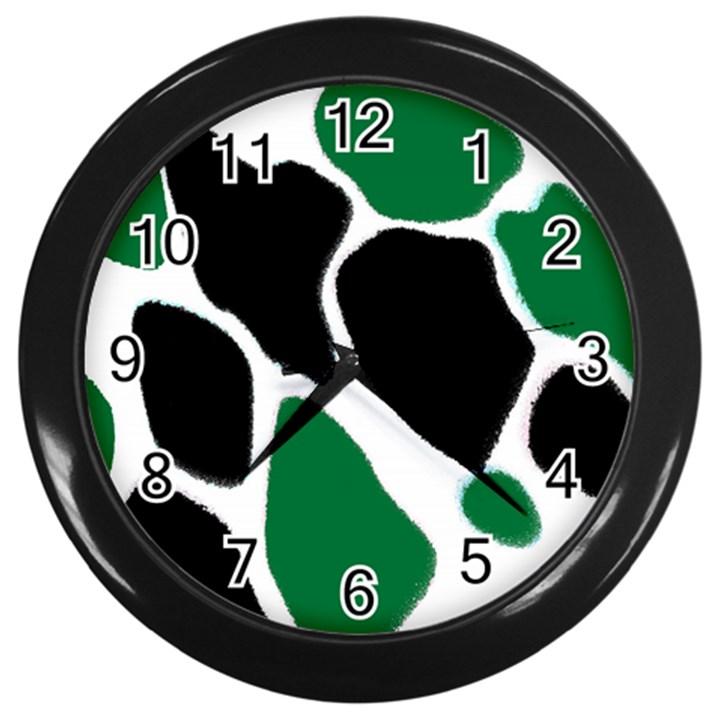 Green Black Digital Pattern Art Wall Clocks (Black)