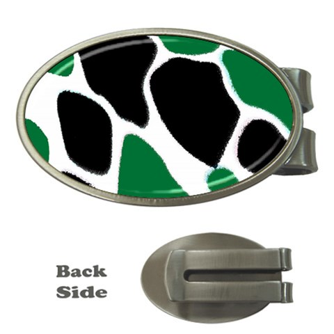 Green Black Digital Pattern Art Money Clips (Oval)