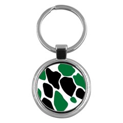 Green Black Digital Pattern Art Key Chains (Round)