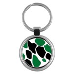 Green Black Digital Pattern Art Key Chains (Round)  Front