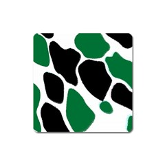 Green Black Digital Pattern Art Square Magnet