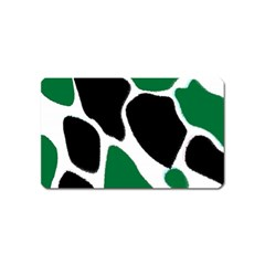 Green Black Digital Pattern Art Magnet (Name Card)