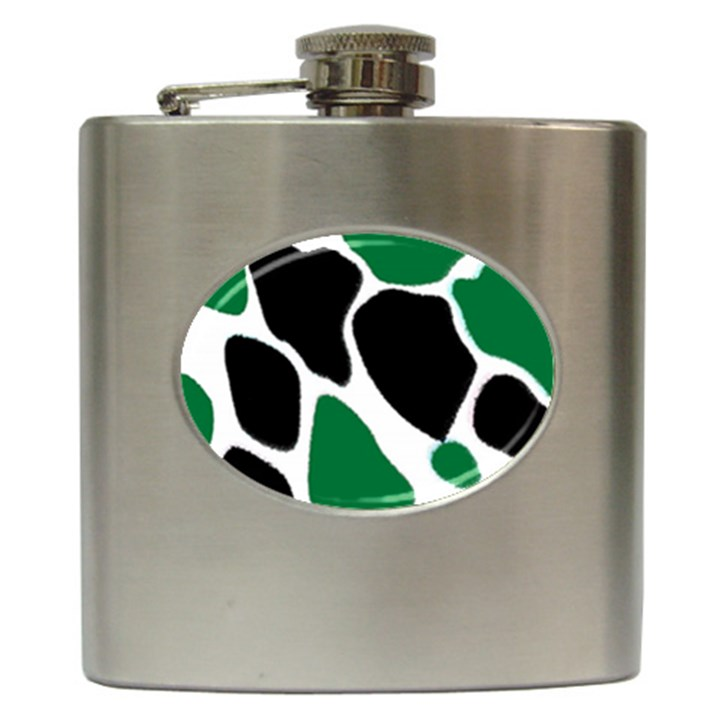 Green Black Digital Pattern Art Hip Flask (6 oz)