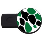 Green Black Digital Pattern Art USB Flash Drive Round (1 GB)  Front