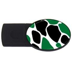 Green Black Digital Pattern Art USB Flash Drive Oval (1 GB)