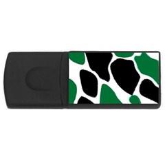 Green Black Digital Pattern Art USB Flash Drive Rectangular (1 GB)