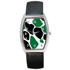Green Black Digital Pattern Art Barrel Style Metal Watch