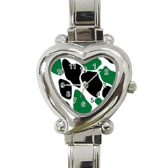 Green Black Digital Pattern Art Heart Italian Charm Watch