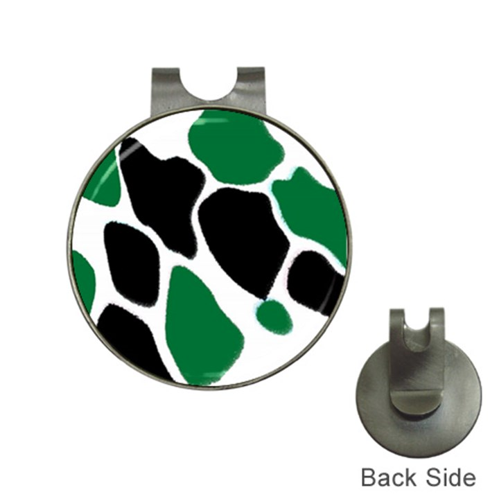 Green Black Digital Pattern Art Hat Clips with Golf Markers