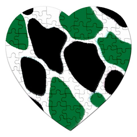 Green Black Digital Pattern Art Jigsaw Puzzle (Heart)