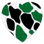 Green Black Digital Pattern Art Jigsaw Puzzle (Heart) Front