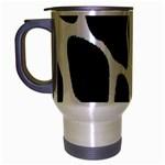 Green Black Digital Pattern Art Travel Mug (Silver Gray) Left