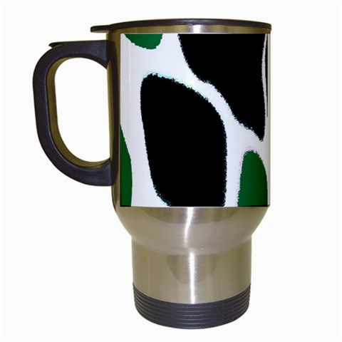 Green Black Digital Pattern Art Travel Mugs (White)