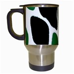 Green Black Digital Pattern Art Travel Mugs (White) Left