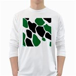 Green Black Digital Pattern Art White Long Sleeve T-Shirts Front