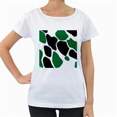 Green Black Digital Pattern Art Women s Loose-Fit T-Shirt (White)