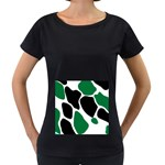 Green Black Digital Pattern Art Women s Loose-Fit T-Shirt (Black) Front