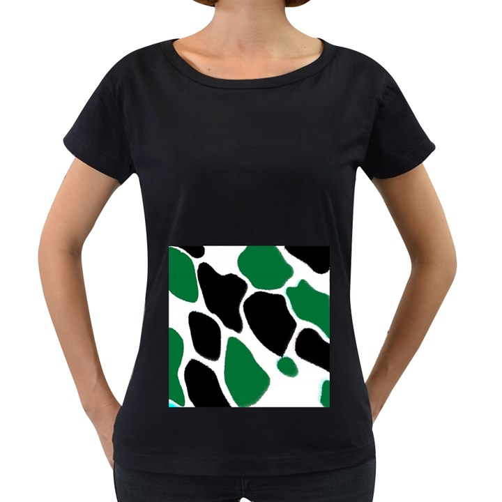 Green Black Digital Pattern Art Women s Loose-Fit T-Shirt (Black)