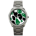 Green Black Digital Pattern Art Sport Metal Watch Front
