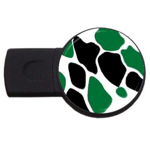 Green Black Digital Pattern Art USB Flash Drive Round (4 GB)