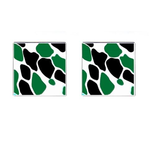 Green Black Digital Pattern Art Cufflinks (Square)