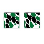 Green Black Digital Pattern Art Cufflinks (Square) Front