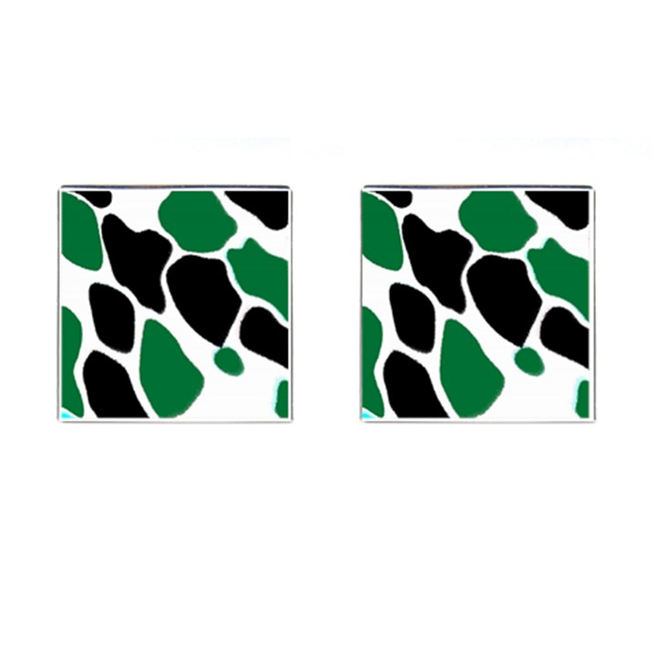 Green Black Digital Pattern Art Cufflinks (Square)