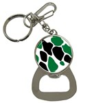 Green Black Digital Pattern Art Bottle Opener Key Chains Front