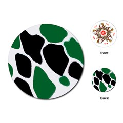 Green Black Digital Pattern Art Playing Cards (Round)