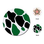 Green Black Digital Pattern Art Playing Cards (Round)  Front