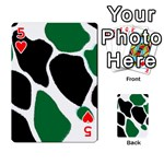 Green Black Digital Pattern Art Playing Cards 54 Designs  Front - Heart5