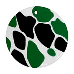 Green Black Digital Pattern Art Round Ornament (Two Sides)  Back