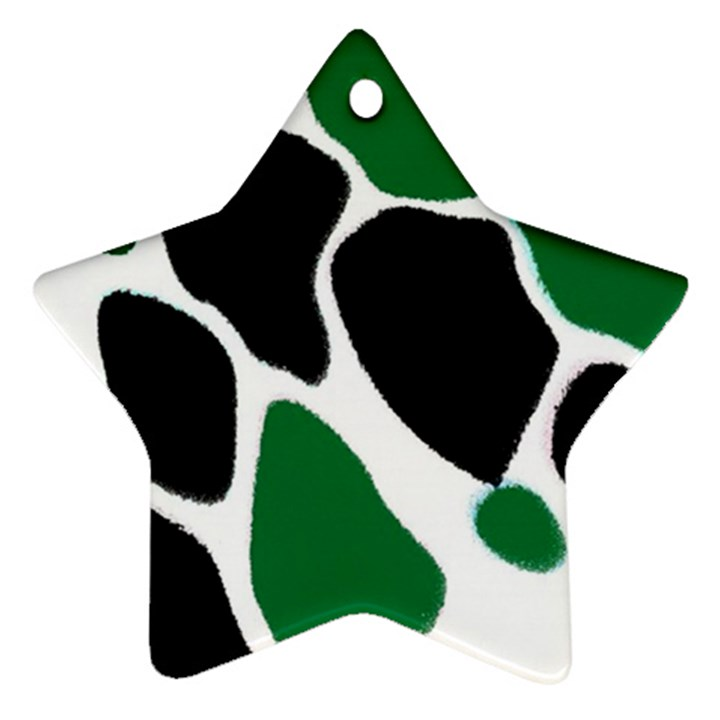 Green Black Digital Pattern Art Star Ornament (Two Sides)