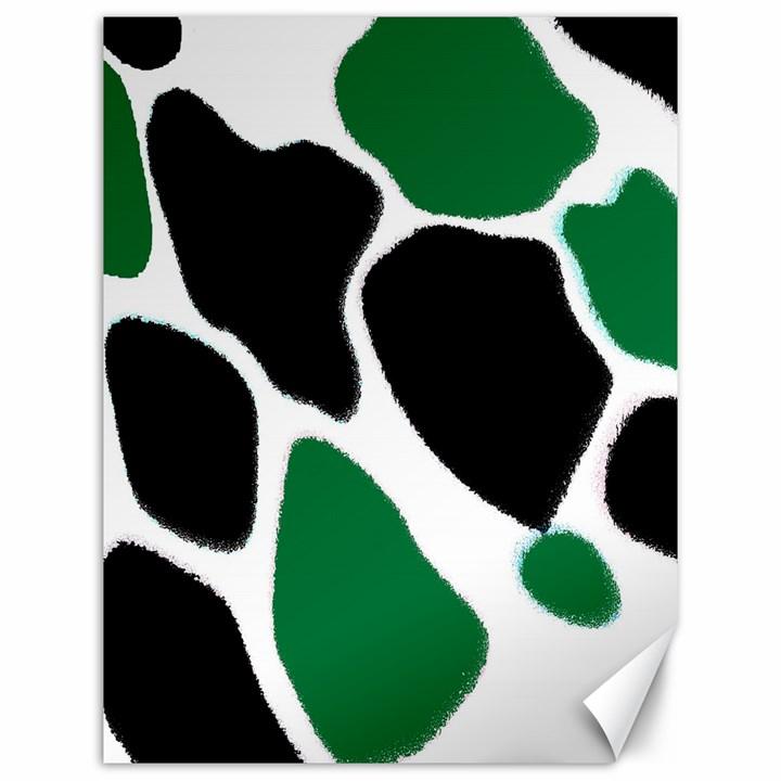 Green Black Digital Pattern Art Canvas 12  x 16