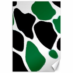 Green Black Digital Pattern Art Canvas 12  x 18