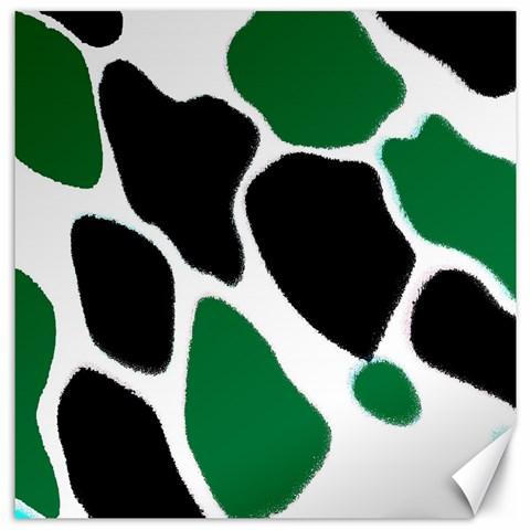 Green Black Digital Pattern Art Canvas 16  x 16
