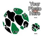 Green Black Digital Pattern Art Playing Cards 54 (Round)  Front - SpadeK