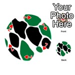 Green Black Digital Pattern Art Playing Cards 54 (Round)  Front - Heart7