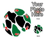 Green Black Digital Pattern Art Playing Cards 54 (Round)  Front - HeartQ