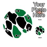 Green Black Digital Pattern Art Playing Cards 54 (Round)  Front - Spade6