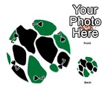 Green Black Digital Pattern Art Playing Cards 54 (Round)  Front - Spade7