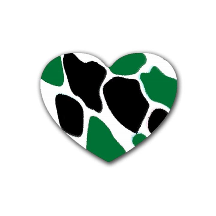 Green Black Digital Pattern Art Rubber Coaster (Heart)