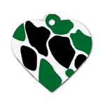 Green Black Digital Pattern Art Dog Tag Heart (Two Sides) Front