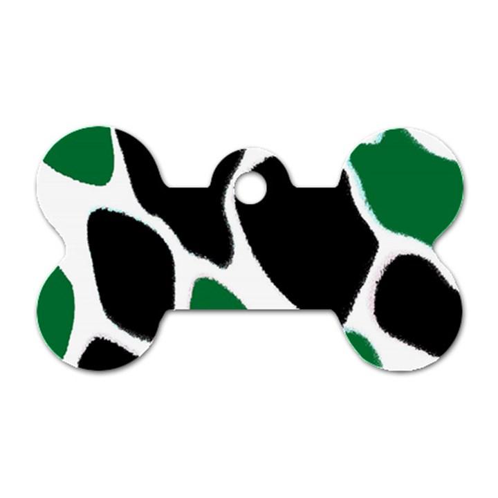 Green Black Digital Pattern Art Dog Tag Bone (One Side)