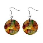 Indian Summer Funny Check Mini Button Earrings Front