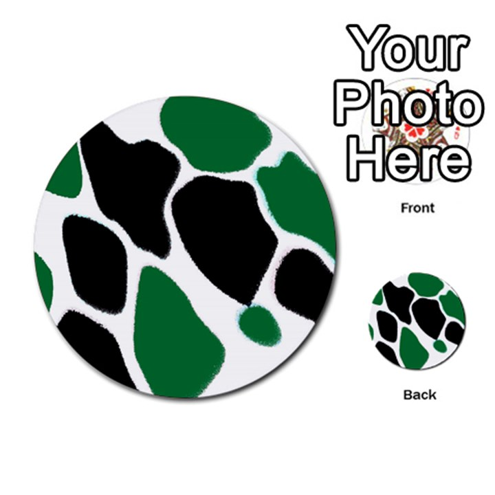 Green Black Digital Pattern Art Multi-purpose Cards (Round)