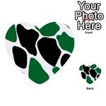 Green Black Digital Pattern Art Multi-purpose Cards (Heart)  Back 49